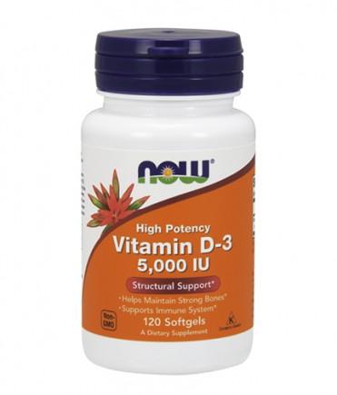 NOW Vitamin D-3 / 5000 IU / 120 Softgels